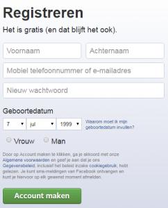 Facebook registreren